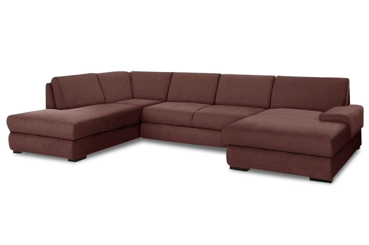Sofa Wohnlandschaft Rialto Mit Bett Webstoff Braun Gunstig