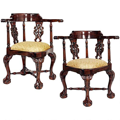 Design Toscano Chippendale Corner Chair Set of Two, Cherry