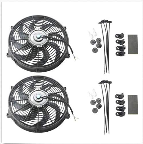 2x 14 Inch Universal Slim Fan Push Pull Electric Radiator Cooling Engine Blade FAN 12V 80W Mount Kit (14 inches):