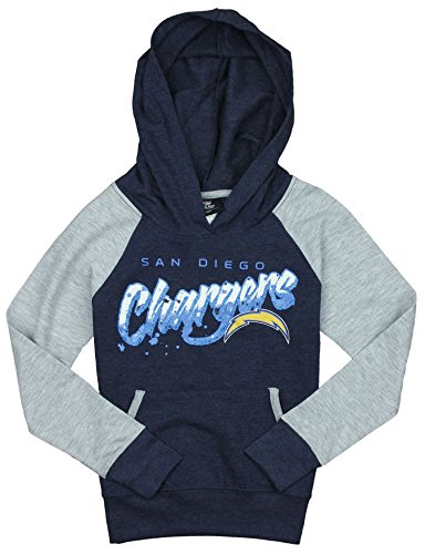 (NFL San Diego Chargers Big Girls Youth Crafted Fleece Pullover Hoodie, Navy)