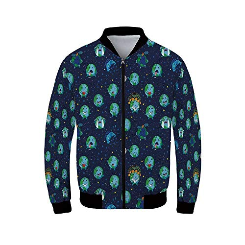 (Emoji Men's Windproof Jacket,Planet Earth as Smiley Angry Happy Sad Cheerful Faces Expressions and Star Backdrop for Outdoor,XL)