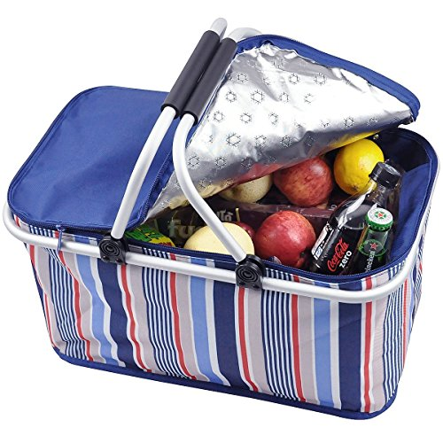 Stripe Market Tote - 32L Family Size Folding Collapsible Insulated Picnic Basket Cooler Bag Tote Portable Reusable Lunch Box with Sewn in Frame for Camping Hiking BBQ's Beach Holiday Grocery Shopping (Blue Stripes)