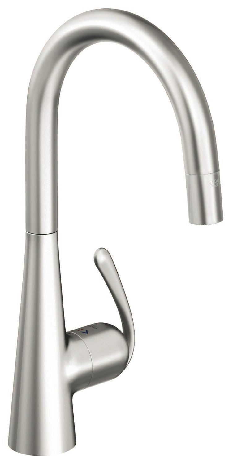 Grohe 32 226 SDE Ladylux3 Pro WaterCare Main Sink Dual Spray Pull-Down Kitchen Faucet, RealSteel Stainless Steel