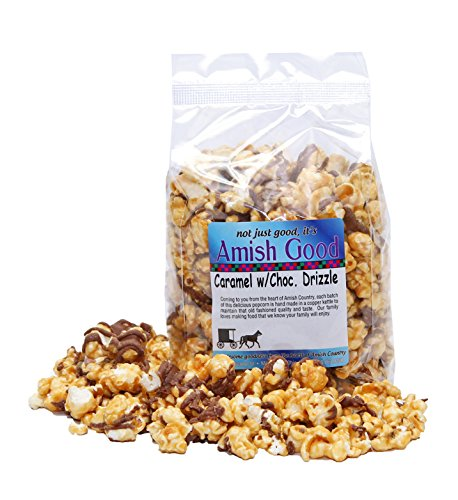 Amish Good Premium Caramel Popcorn With Chocolate Drizzle Hand Stirred in Copper Kettle Real Butter and Coconut Oil Makes Better Caramel Corn! (12 oz Bag)