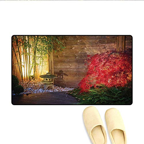 Sparta Bamboo - Doormat,Japanese Stone Lantern and Red Maple Tree in an Autumnal Zen Garden Bamboo Trees,Bath Mat for Tub Bathroom Mat,Multicolor,Size:20
