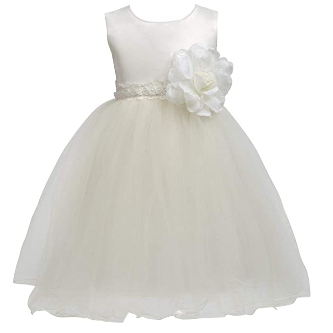 Amazon.com: Vestido de tul para niña con pétalos de perla ...
