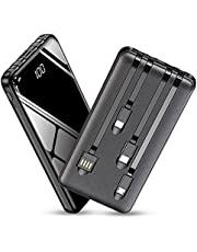 Portable Charger 13800mAh Tebild External Battery Power Bank Built-in 4 Cable and Flashlight,Backup Battery with LCD Display Ultra Slim Phone Charger Compatible with Smarthones, Tablets, and More
