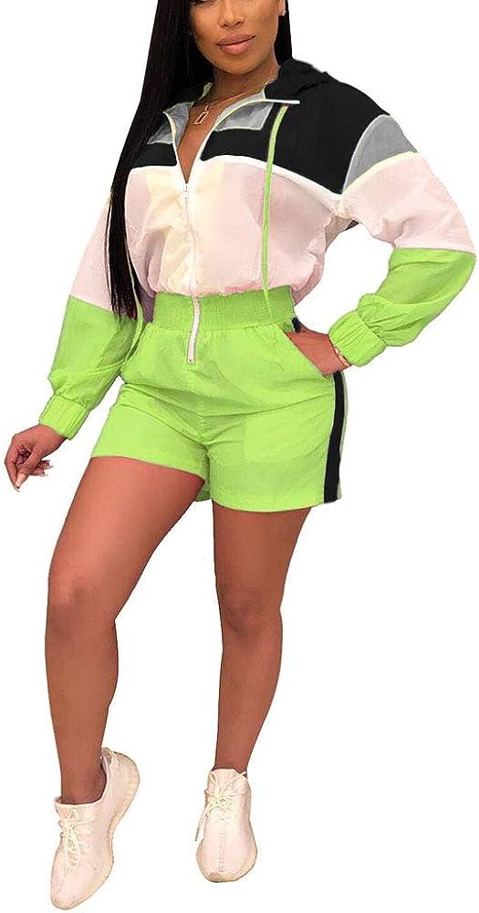 Salimdy Women Casual Color Block Zipper V Neck Long Sleeve Hoodie Elastic Waist Short One Piece Jumpsuits Romper