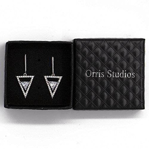 Orris Studios Geometry Double Dangle Earrings Stud with Crystal and CZ Rhinestones Silvery ()