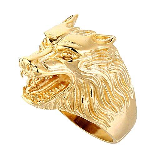 SINLEO Men's Wolf Head Stainless Steel Ring Vintage Werewolf Biker Band Gold Size 8]()