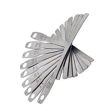 Xelparuc® 9 piezas de acero inoxidable Calibre de radios para guitarra y bajo, herramientas de luthier para ajuste de sillín de puente: Amazon.es: ...