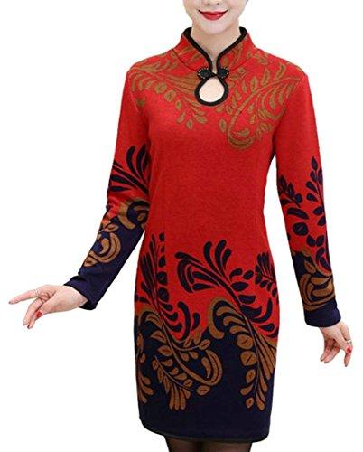 Cruiize Womens Floral Épais À Manches Longues Imprimé Cheongsam Mi Robe Rouge