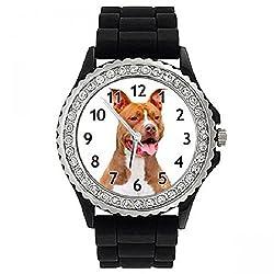 American Pit Bull Dog Crystal Rhinestone Jelly Silicone Wrist Watch