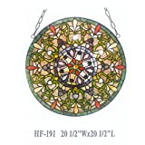 HF-191 20.5 Inch Creative Pastoral Tiffany Style Stained Glass Floral Art Decorative Window Hanging Glass Panel Suncatcher