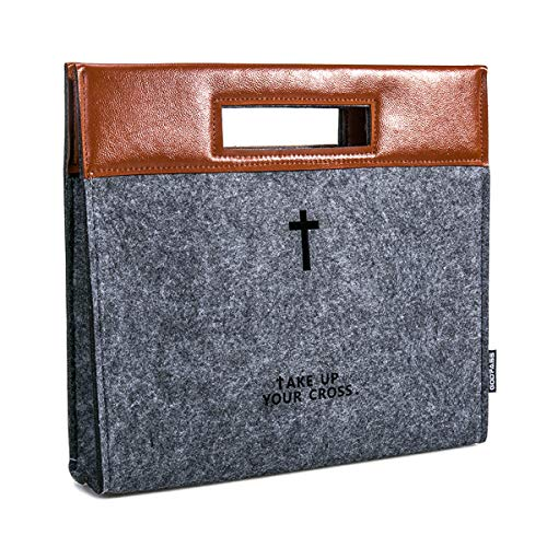 GODPASS Bible Carrying Case, Felt Bible Cover for Men, Church Tote Bag with Zipper, Large Bible Study Case, Briefcase for Men,Business case Office case,Christian Gift for Men,Bible Carrier,Week Deals