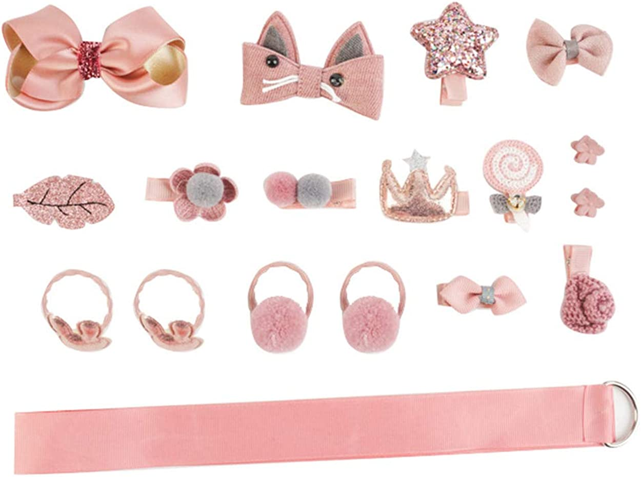 Baby Girl's Hair Accessories Set with Gift Box (18pcs) - Clips, Hair Tie, Claw Clip, with hanger (pink)