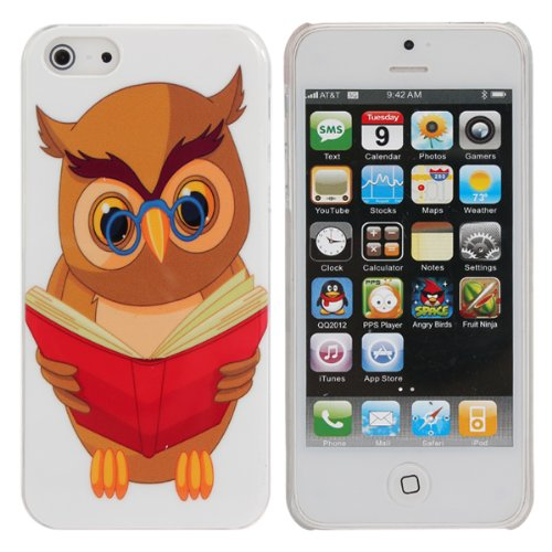 Loveable Case Pattern Owl Cartoon Reading Book pour l'iPhone 5