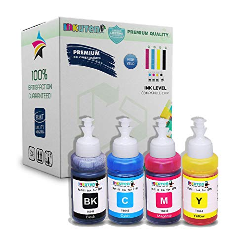 INKUTEN Set of 4 Refill Eco tank Ink Kit 70ml for T6641 T6642 T6643 T6644 and Expression Ecotank ET-2500 ET-2550 ET-4500 ET-4550 L100 L110 L120 L200 L210 L300 L350 L355 - Epson Printer L200