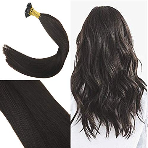 Youngsee 22 Inch Remy Straight I Tips Human Hair Extensions Pre Bonded Keratin Hair Extensions #2 Darkest Brown Stick Tip Extensions Fusion Human Hair 50 Strands 50g Per Package