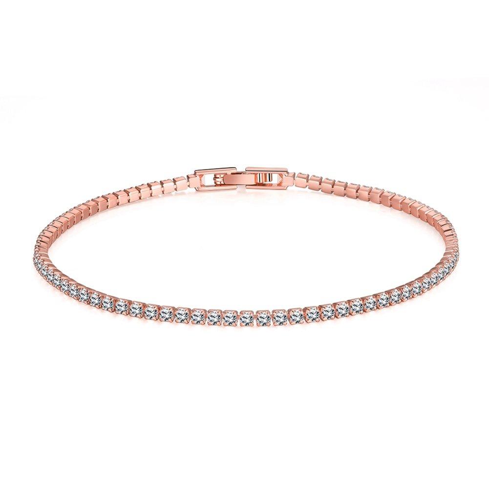 FENDINA Womens Classic 18K Gold Plated Thin Cubic Zirconia Tennis Bracelets