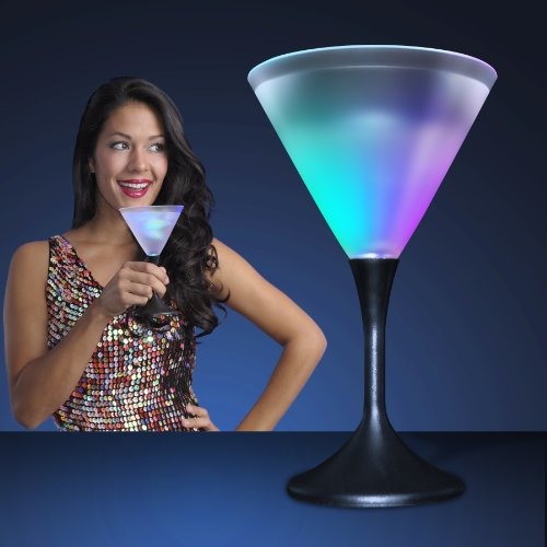 Light Up Frosted Martini Glass with Black Base & Color Changing LED Light (Black Plastic Martini Glasses)