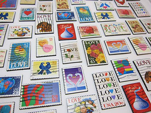 Wedding Favors - Magnets Recycled Love Postage Stamps