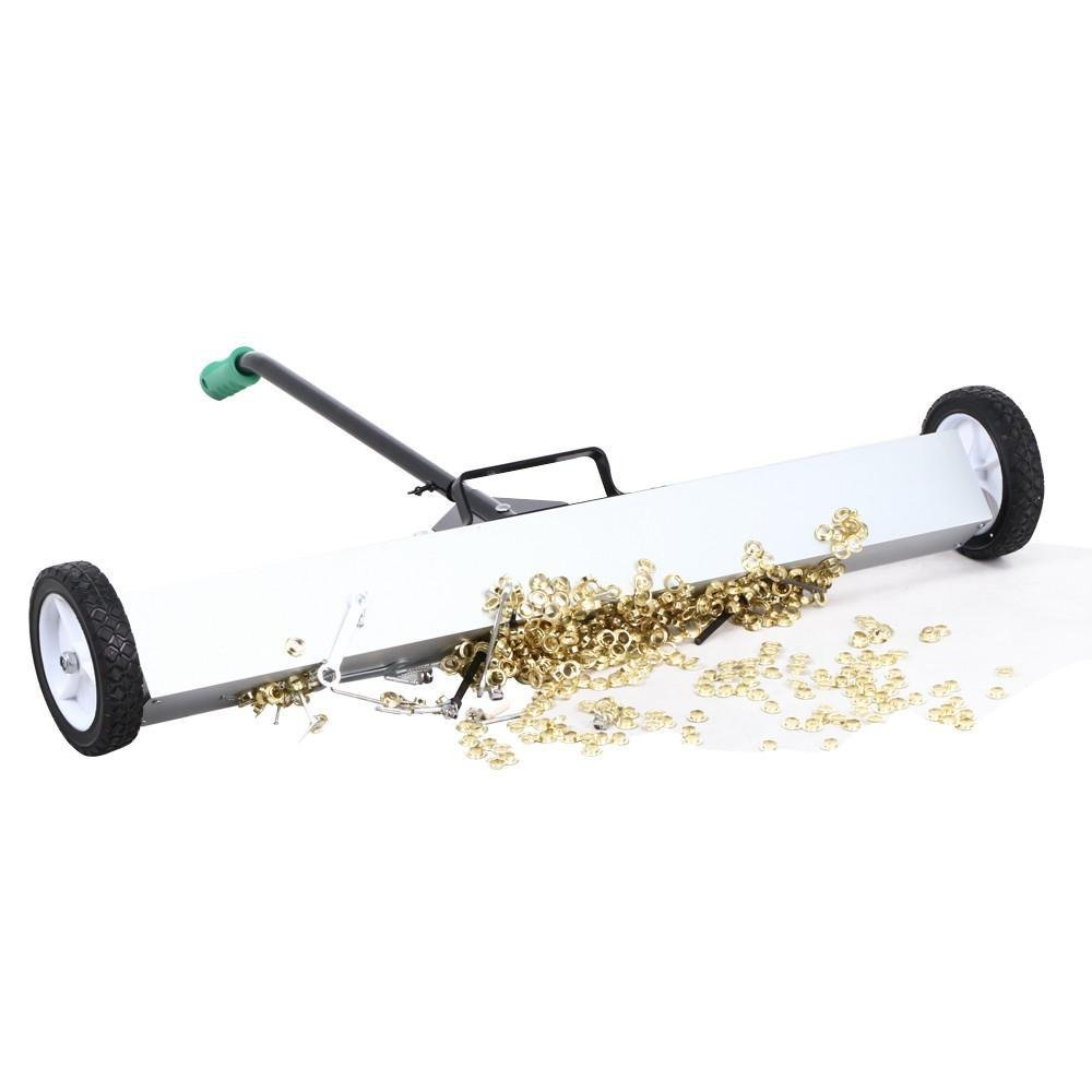 Topeakmart 36'' Rolling Magnetic Pickup Sweeper with Wheels, 40LBS Capacity