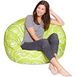 Big Comfy Bean Bag Chair: Posh Large Beanbag Chairs for Kids, Teens and Adults - Polyester Cloth Puff Sack Lounger Furniture for All Ages - 35 Inch - Swirls Lime and White
