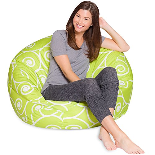 Big Comfy Bean Bag Chair: Posh Large Beanbag Chairs for Kids, Teens and Adults - Polyester Cloth Puff Sack Lounger Furniture for All Ages - 35 Inch - Swirls Lime and White by Posh Beanbags
