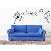 CreativeWallDecals Wall Decal Vinyl Sticker Modern Dandelion Flower Music Notes Sound Gift V362