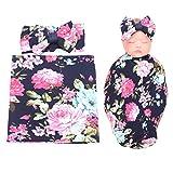 LBB Newborn Receiving Blankets Headband Set Flower Print Baby Swaddle Blankets, Navy Blue