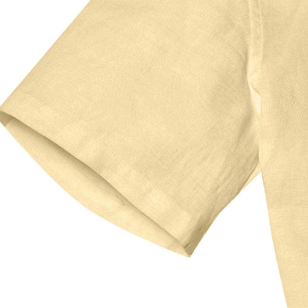 Camisas Hombre Manga Corta Blusa Hombre Manga Corta Negocios y Ocio Camisa Hombre Slim fit Top de Manga Corta de Color s/ólido para Hombre Camiseta de Manga Corta de algod/ón y Lino para Hombre