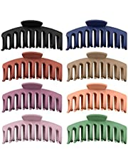 Hair Claw Clips Nonslip Large Claw Clip for Women and Girls Thin Hair, Strong Hold for Thick Hair, French Design Hair Styling Accessories for Women Girls(4.3 Inch, 8 Packs) (Matte)