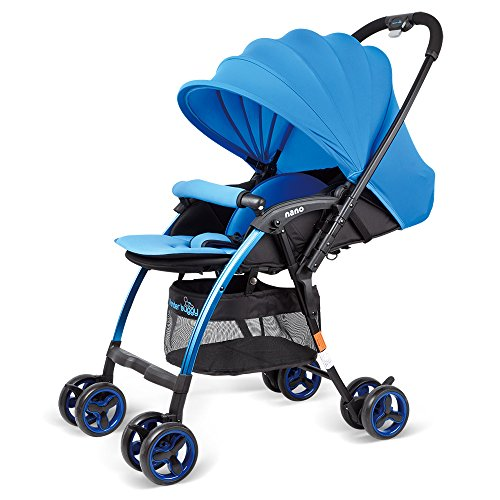 WonderBuggy Lightweight Stroller, Luxury Newborn Baby Stroller for Travelling, Convenient One Hand Folding and Opening, with X-Large Adjustable Sun Visor Canopy & 5-Point Safety System, Blue