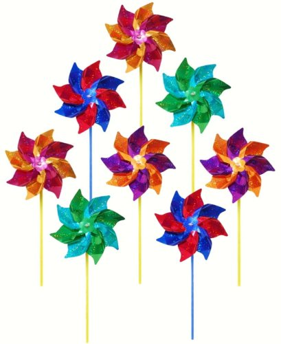 (In the Breeze Best Selling Mylar Rainbow Pinwheel - Assorted 2 Tone Color Spinners - 8 Piece)