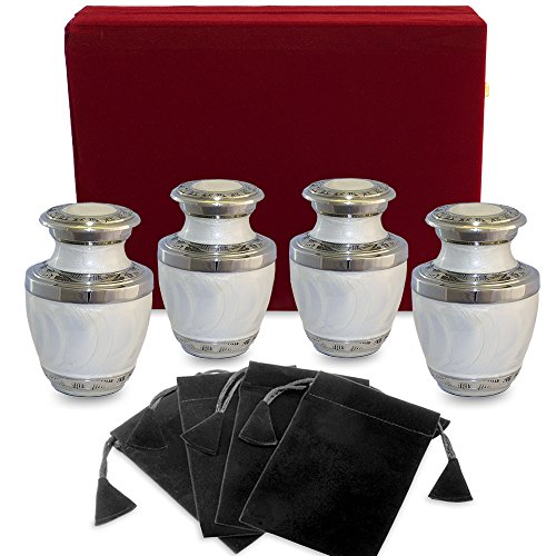 Everlasting Love White Small Keepsake Urns For Human Ashes - Set of 4 - Beautiful and Timeless - Find Comfort with these High Quality Mini Cremation Urns - w Velvet Case and 4 Indivdual Velvet Bags