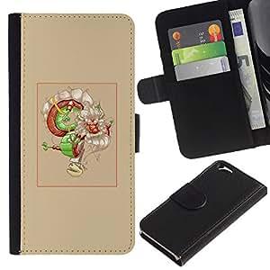 EJOY---Tirón de la caja Cartera de cuero con ranuras para tarjetas / Apple Iphone 6 / --Asian Dream Dragón