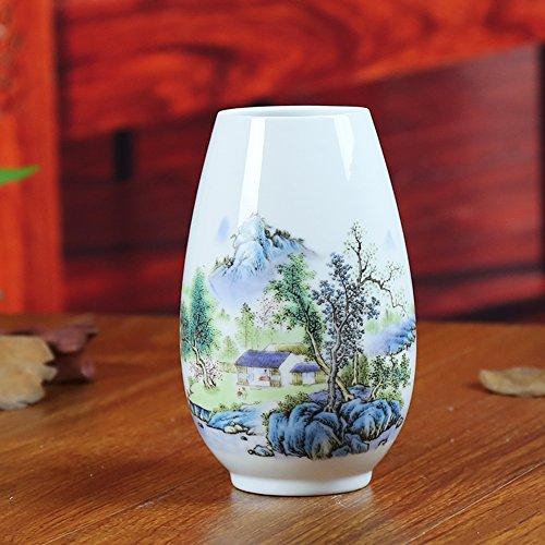 Wangs ceramic vase famille rose porcelain Landscape of modern home study Pen ornaments Office crafts flowers-A