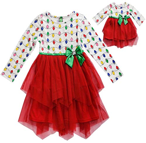 (Dollie & Me Girls Size 4-14 Red Christmas Lights Cascade Dress (6))