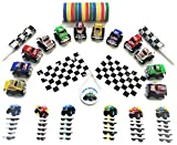 Monster Truck Party Favors (12 Pack)- Pull-Back Trucks, Flags, Rubber Bracelets, Tattoos, and Birthday Button