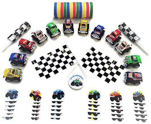 Monster Truck Party Favors (12 Pack)- Pull-Back Trucks, Flags, Rubber Bracelets, Tattoos, and Birthday Button]()