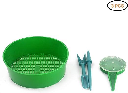 Kenanlan - Juego de herramientas de jardinería (incluye separadores de semillas, sartén de sifting y perforadora, para jardín o exterior): Amazon.es: Hogar