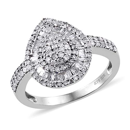 925 Sterling Silver Platinum Plated Diamond Baguette Bridal Anniversary Ring for Women Cttw 1