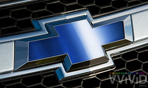 "VVIVID Blue Chrome Auto Emblem Vinyl Wrap Overlay Cut-Your-Own Decal for Chevy Bowtie Grill, Rear Logo DIY Easy to Install 11.80"" x 4"" Sheets (x2) (Tie Bow Emblem Rear)"