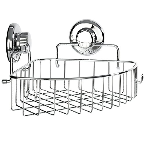 HASKO accessories Corner Shower Caddy with Suction Cup - Stainless Steel Basket for Bathroom Storage (Corner Accessory)