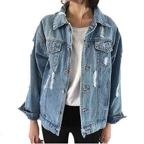 Jeans Jacket Women Slim Ripped Holes Denim Jacket Femme Elegant Vintage Bomber - Femme Denim La Jacket