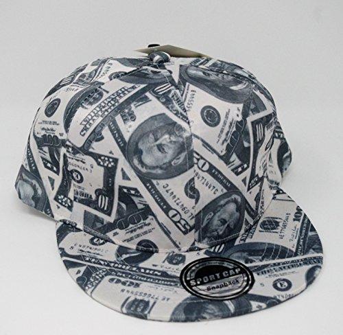 Black White Green Ball Cap Cash Dollars Money Benjamins Design Adjustable Snap ()