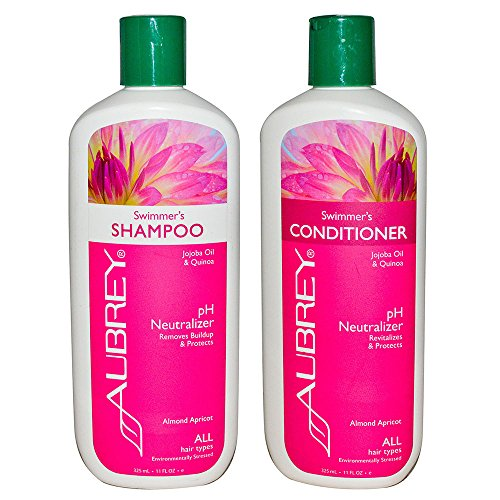 Aubrey Swimmer's Neutralizing Natural Shampoo & Conditioner For Environmentally Stressed Hair, Rice Extract Chlorine Remover Prevents Discoloration, Sulfate Free, NSF Certified, 11 oz each