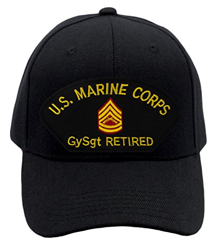 Patchtown USMC - Gunnery Sergeant Retired Hat/Ballcap (Black) Adjustable One Size Fits (Marine Corps Retired Ball Cap)