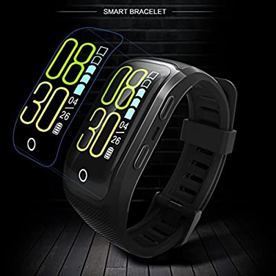GPS Sports Watch Heart Rate Monitor Waterproof Fitness Tracker Bluetooth Smart Bracelet for iOS Android Phone Black